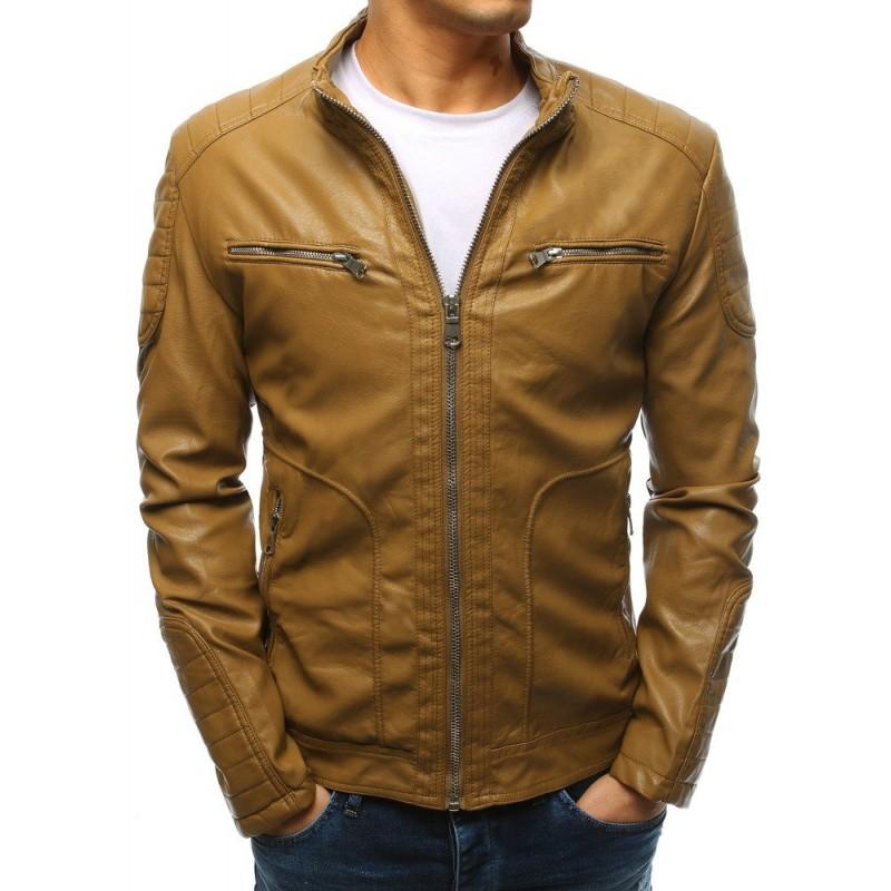 704c5300e442 Moderná hnedá pánska kožená bunda s dizajnovým stojačikom so zipsom