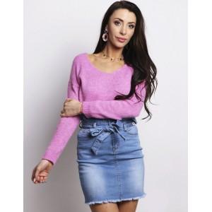 Štýlový dámsky ružový pletený sveter oversize strihu s výstrihom do V
