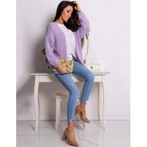 Dámsky fialový pletený sveter na jar voľného strihu bez zapínania