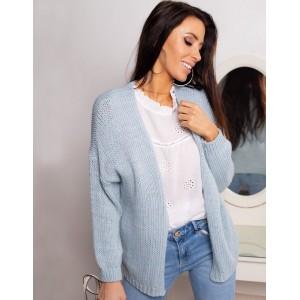 Štýlový dámsky pletený jarný sveter v pastelovo modrej farbe