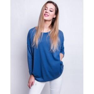 Dámsky modrý oversize pulóver s dlhým rukávom