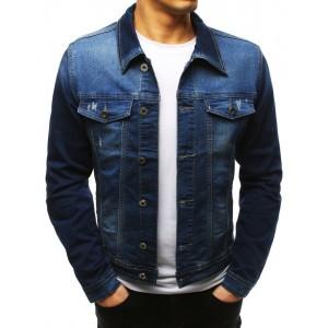 Pánska modrá rifľová bunda s gombíkmi