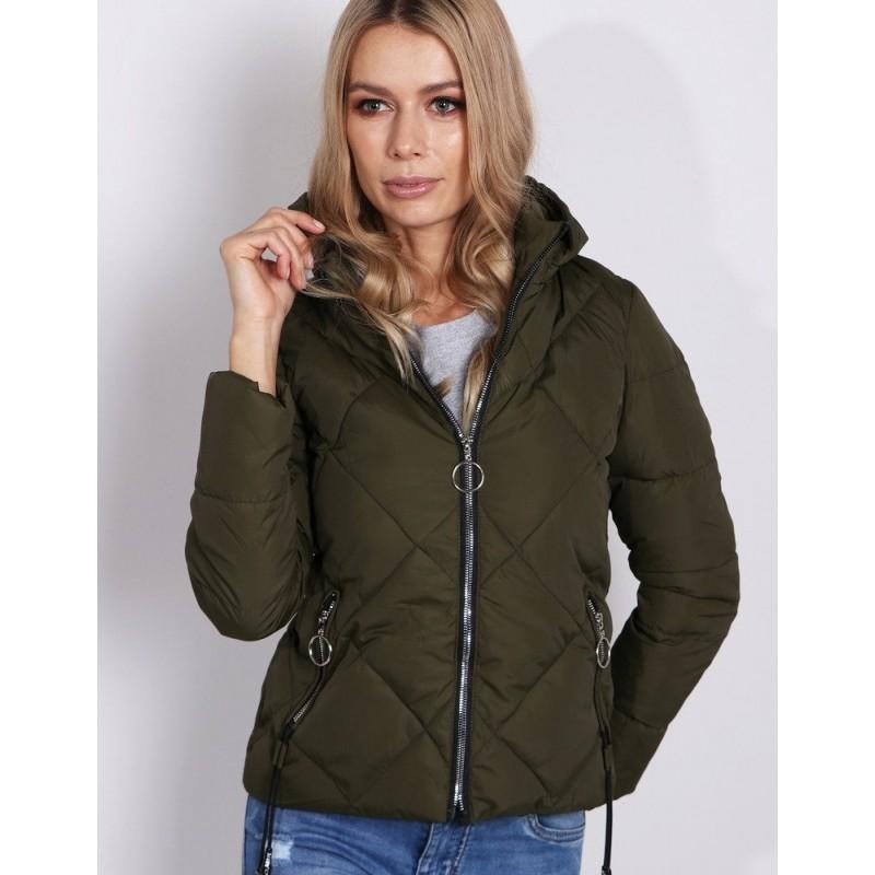 Dámska jarná prešívaná bunda khaki s kapucňou a bočnými vreckami 29b900f9837