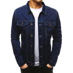 Pánska jednofarebná jeansová bunda s gombíkmi