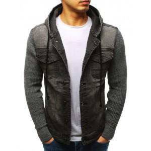 Sivá pánska rifľová bunda s pletenými rukávmi