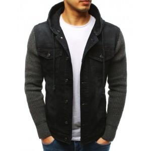 Čierna prechodná džínsová bunda s pletenými rukávmi a s kapucňou