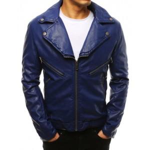 Pánska modrá kožená bunda s výrazným golierom