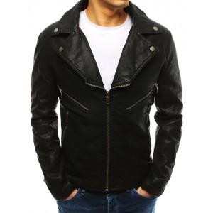 Štýlová čierna pánska kožená bunda s dominantným golierom