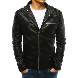 Pánska čierna koženková bunda s ozdobným vzorom na pleciach