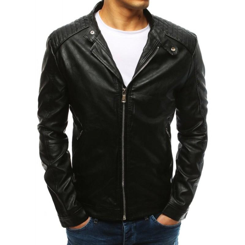 41c221f408d5 Čierna pánska kožená bunda s 2 vonkajšími vreckami