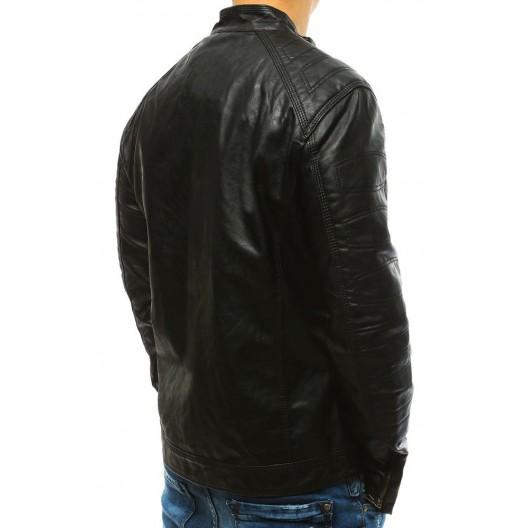 Čierna koženková bunda pánska na zips