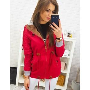 Červená moderná dámska jarná bunda s kapucňou