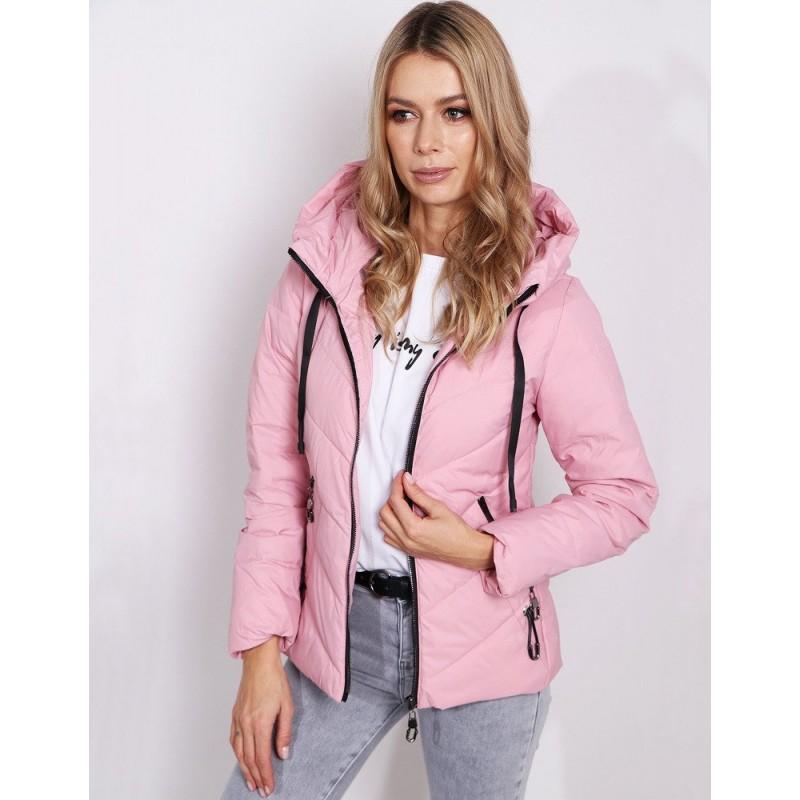Trendy dámska prešívaná bunda s kapucňou v pastelovo ružovej farbe 81dd0c8cf04
