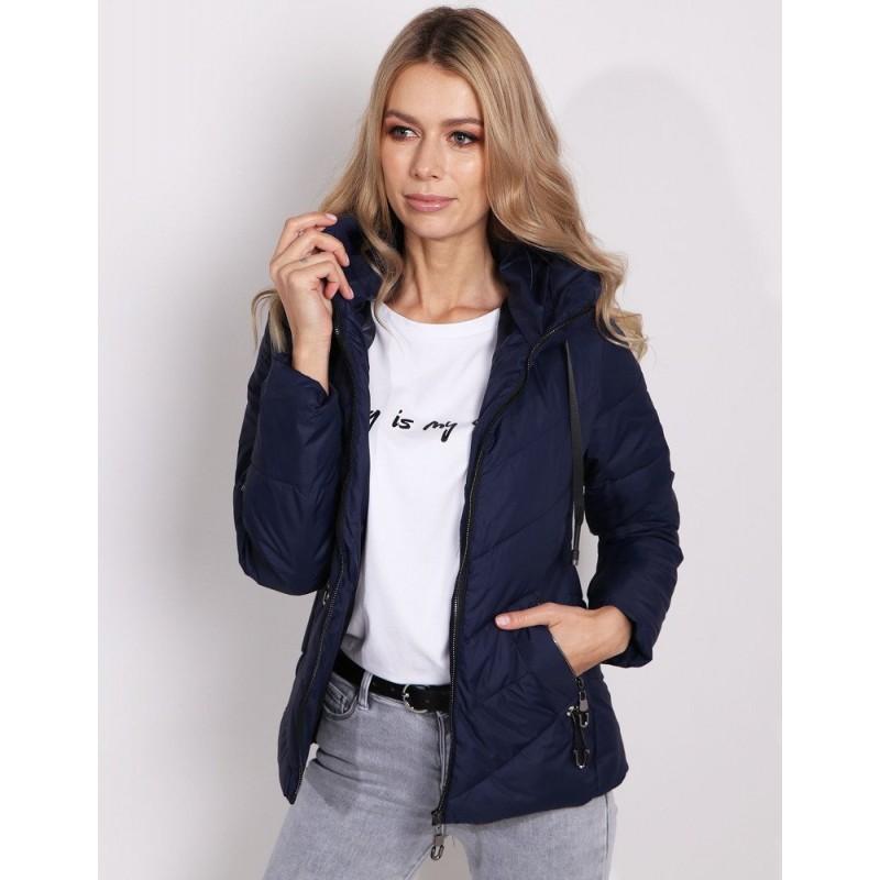 Moderná dámska jarná bunda s kapucňou v krásnej tmavo modrej farbe 1b80c6bfa32
