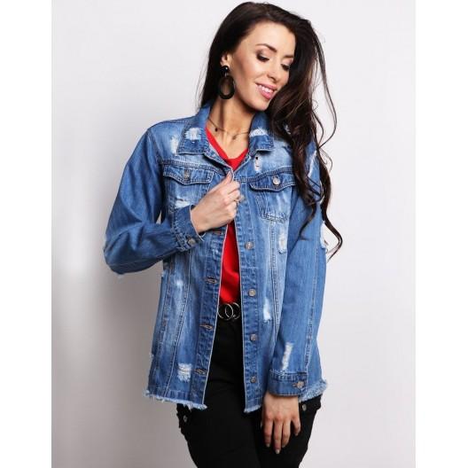Dámska predĺžená jeansová bunda v modrej farbe