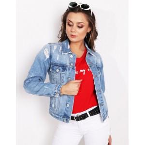 Moderná dámska svetlo modrá krátka riflová bunda s dierami