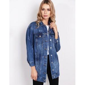 Štýlová dlhá dámska rifľová bunda s trendy prešúchaním
