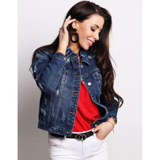 Moderná tmavo modrá krátka džínsová bunda pre dámy
