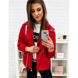 Štýlová dámska prechodná bunda vo výraznej červenej farbe