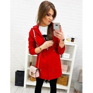 Červená dámska ľahká prechodná dámska bunda s kapucňou