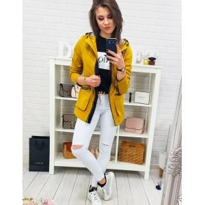 Jarná dámska žltá bunda s kapucňou a dizajnovým prepracovaním
