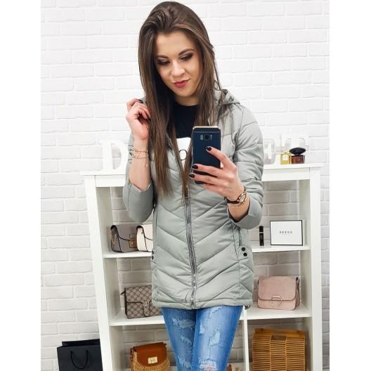 Prechodná dámska bunda v sivej farbe s kapucňou