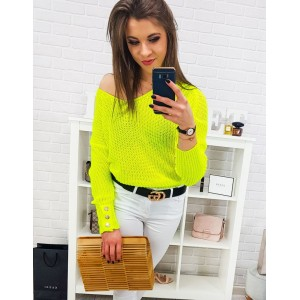 Moderný dámsky neónový žltý sveter oversize s gombíkmi na rukávoch