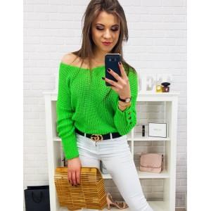 Letný dámsky neónovo zeleny sveter s voľným výstrihom do tvaru V