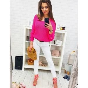 Trendy dámsky letný sveter v módnej neónovo ružovej farbe