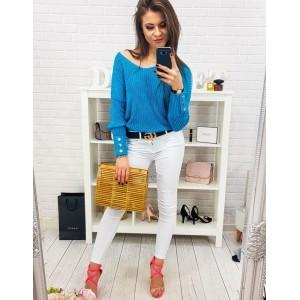 Originálny dámsky sveter v tyrkysovej farbe a s ozdobnými gombíkmi