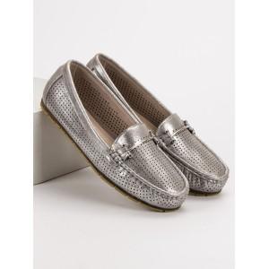 Sivo strieborné dámské mokasíny so sponou originálneho designu