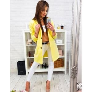 Krásny dámsky žltý jarný kabát oversize strihu so zapínaním na gombíky