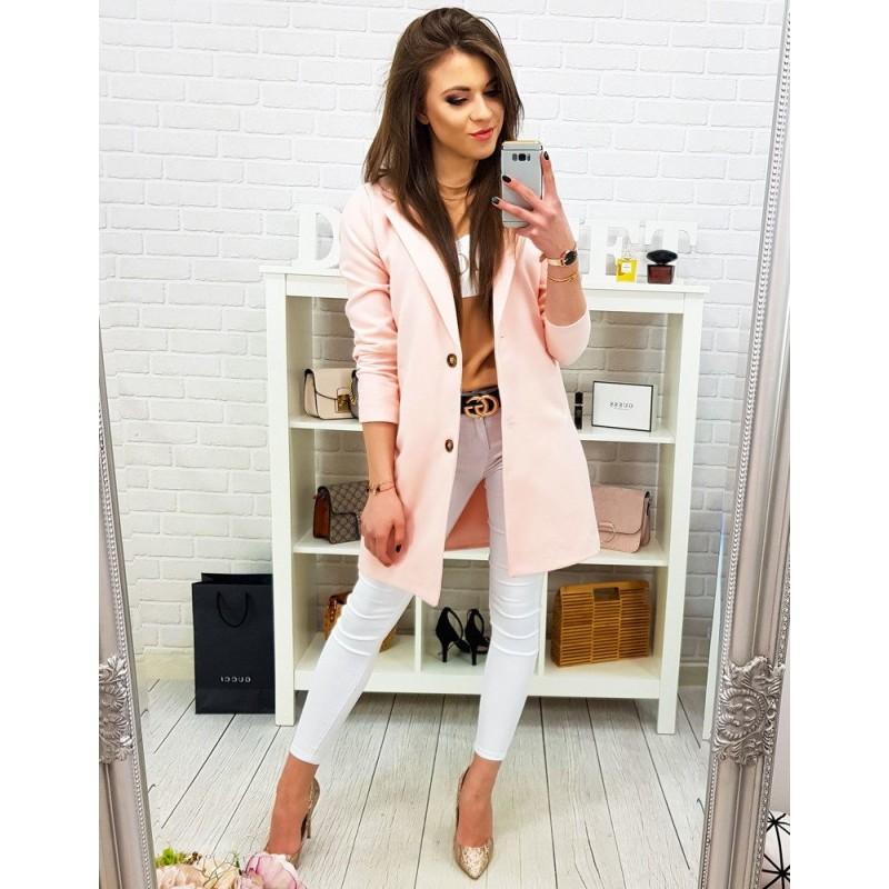 a4946c2853 Romantický pastelovo ružový dámsky kabát rozšíreného strihu na gombíky
