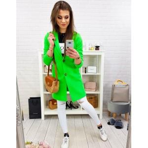 Štýlový dámsky jarný kabát v trendy neónovo zelenej farbe oversize strihu