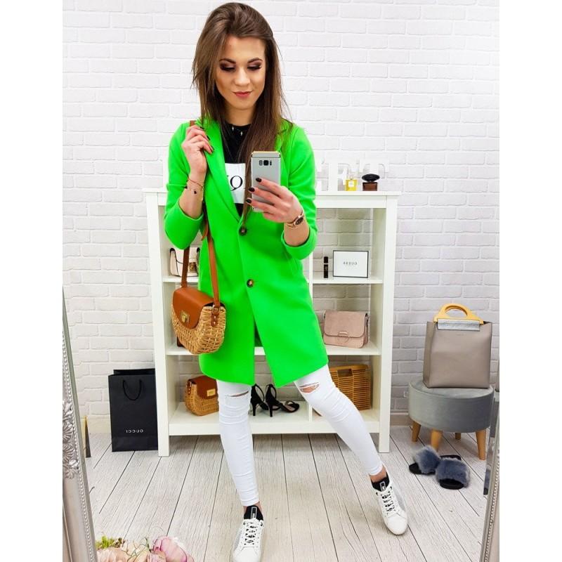 ebd626e5194e Štýlový dámsky jarný kabát v trendy neónovo zelenej farbe oversize strihu
