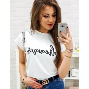 Dámske tričko s nápisom v bielej farbe
