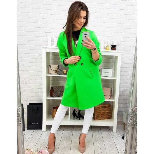 Moderný dámsky jarný kabát áčkového strihu v neónovo zelenej farbe