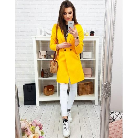 Krásny jarný kabát v neónovo žltej farbe do tvaru písmena A