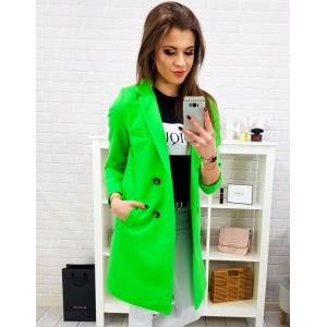 Originálny dámsky neónovo zelený jarný kabát rovného strihu na gombíky