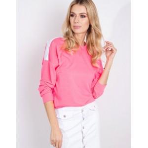 Dámska mikina v ružovej farbe bez kapucne