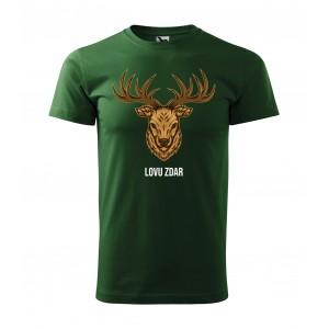 Zelené pánske tričko pre poľovníkov s potlačou hlavy jeleňa