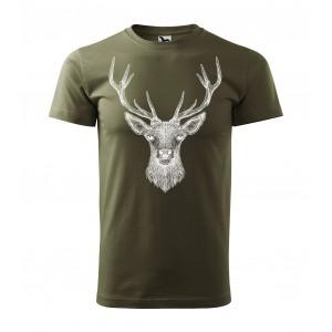 Poľovnícke tričko v zelenej farbe s motívom jeleňa