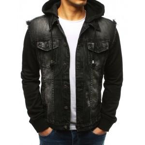 Pánska čierna rifľová bunda na gombíky s odnímateľnou kapucňou