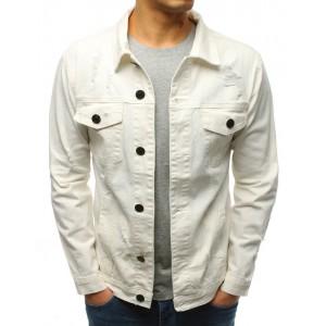 Dámska letná pánska rifľová bunda krémovo bielej farbe s trendy dierami