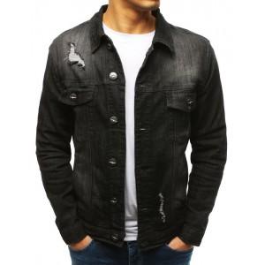 Originálna čierna pánska krátka rifľová bunda s módnym dizajnom