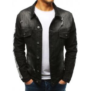 Moderná pánska čierna rifľová bunda s trendy pásmi na rukávoch