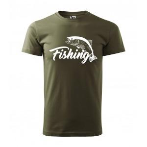 Rybárske tričko v zelenej farbe s motívom kapra