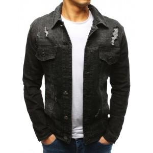 Pánska sivo čierna rifľová krátka bunda s trendy dizajnom