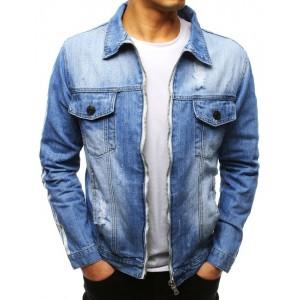 Originálna svetlo modrá pánska rifľová bunda na zips s pásmi na rukávoch