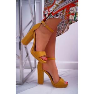 Dámske sandále na vysokom podpätku v žltej farbe